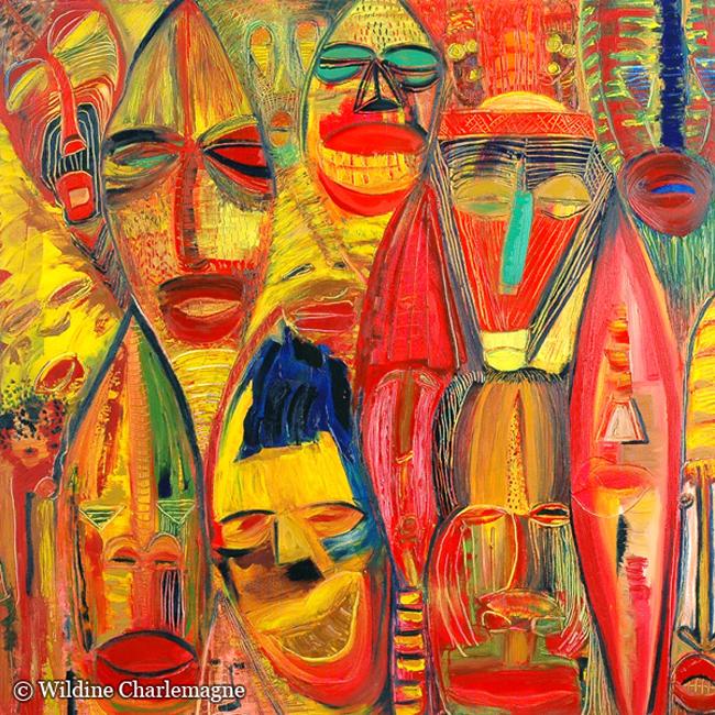 Wildine Charlemagne - La fête 2 - Huile sur toile 80x80cm