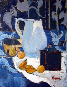 Jacquin – Le pot blanc —- Huile 65x54cm
