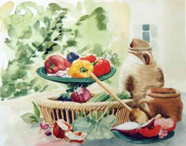 """Jean Montibus - """"Nature morte aux poivrons"""" - aquarelle - 65 x 56"""