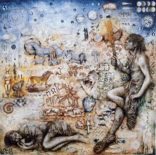 """Jean-Luc Vankersschaver - """"La caverne des découvertes"""" - techniques mixtes - 100 x 100"""