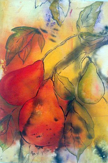 """Marie-Claude Pellois - """"Fruits de lumière"""" - encres - 41x51"""
