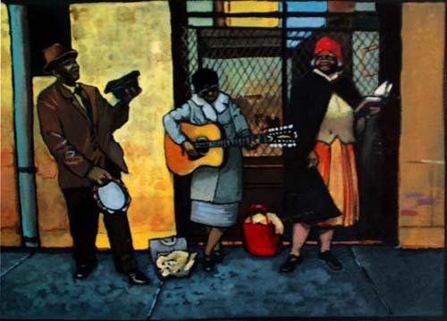 """Jean-Noel Rochut - """"Bassin street blues"""" - gouache sur papier couleur - inédit"""